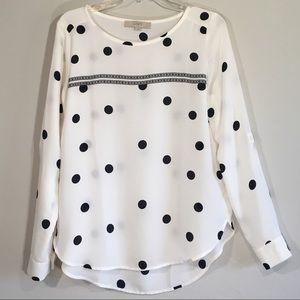 Ann Taylor Polkadot Print Blouse Long Sleeve Top